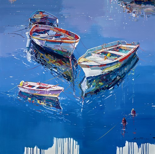 Peaceful Mooring II by Santana - Original Painting on Box Canvas